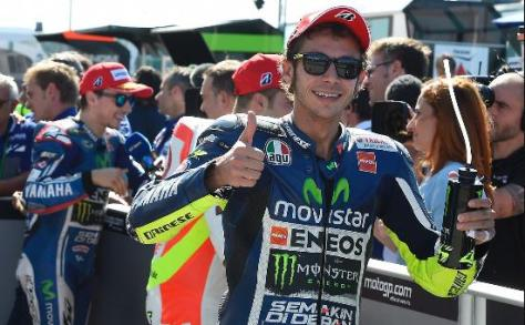 rossi start front row at misano