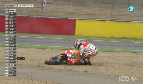 Marquez crash at race aragon 2014