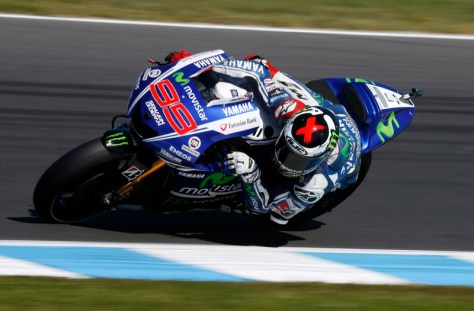 Yamaha MotoGP rider Jorge Lorenzo of Spain rides during the second practice session for the Australian Motorcycle Grand Prix on Phillip Island